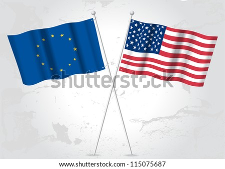 Europe,USA flags - stock vector