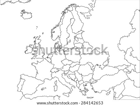Europe white contour vector political map with state borders - stock vector