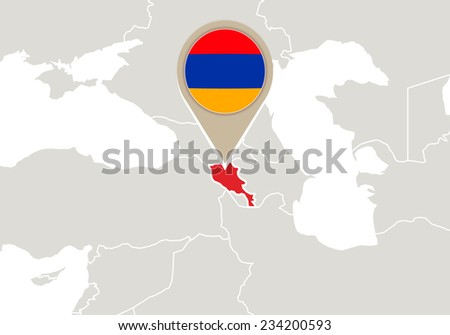 Europe with highlighted Armenia map and flag - stock vector