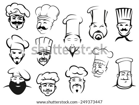 European, american and asian chefs in toques, cartoon sketch style - stock vector
