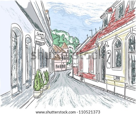 European city street color vector illustration; color and contour in different layers - stock vector