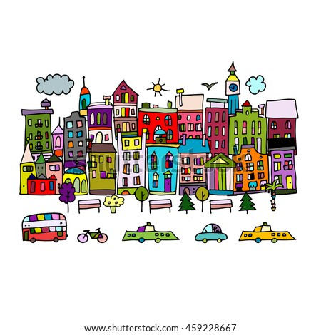 European city street, sketch for your design - stock vector