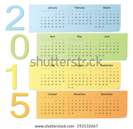 European 2015 color vector calendar with vertical numbers. Week starts from Sunday. - stock vector