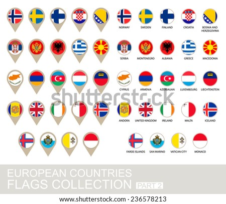 European Countries Flags Collection, Part 2 , 2  version - stock vector