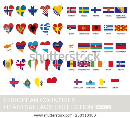 European countries set, hearts and flags, 2  version, part 2 - stock vector