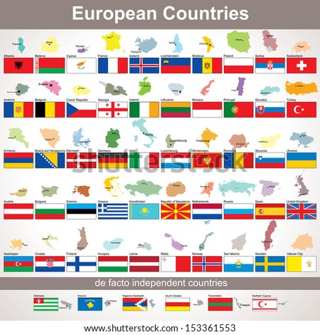 European Countries with Flags. Vector Collection for Your Design - stock vector