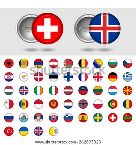 European countries, World Flag collection. Pin badges. Part 2/6 - stock vector