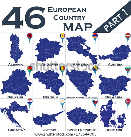 European country set with map pointers - Part 1 - stock vector