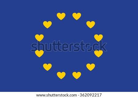 European flag of love. Love Europe. Love flag euro zone. Love Europe Flag. Happy Valentines Day celebration concept. Vector - stock vector