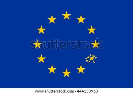 European Flag With Broken Star Vector Illustration - stock vector
