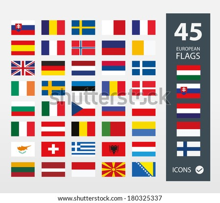 European flags - stock vector