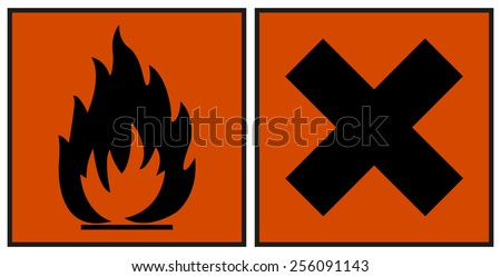 European hazard symbols. Harmful and Extremely Flammable icon symbol one orange background. For chemicals are pictograms defined by the European community. labeling CLP/GHS classification. - stock vector