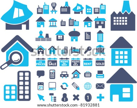 european houses, buildings, icons, signs, vector illustrations - stock vector