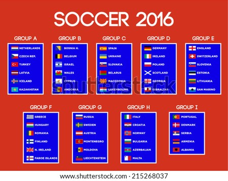 European Soccer Championship -16, group stages vector design. - stock vector