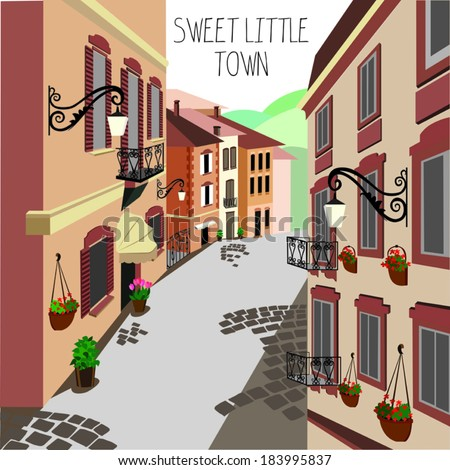 European street. Vector illustration - stock vector