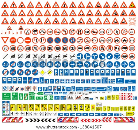 European traffic signs collection. Signs of danger. Mandatory signs.Signs of obligations. Signs of alerts. Supplementary tables. Tables of routing. Temporary traffic signs. 308 signs, vector. - stock vector