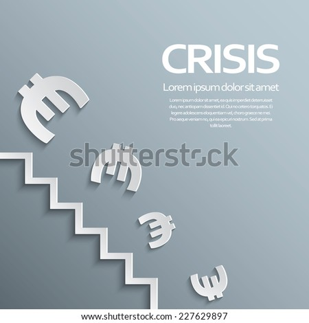 European union and eurozone crisis concept with currency falling and losing value. Eps10 vector illustration - stock vector