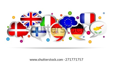 European Union countries bubble speech shapes. Set 1. Vector illustration. - stock vector