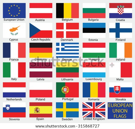 European Union country flags,member states EU - stock vector