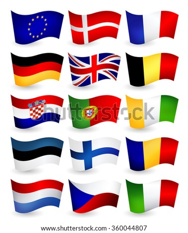 European Union country flying flags part 1.All elements are separated in editable layers clearly labeled. - stock vector