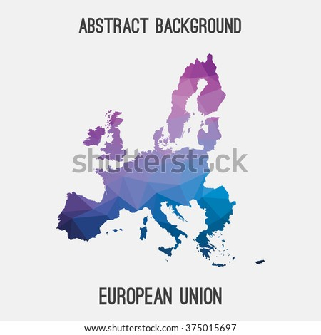 European Union,EU map in geometric polygonal style.Abstract tessellation,modern design background. Vector illustration EPS8. - stock vector