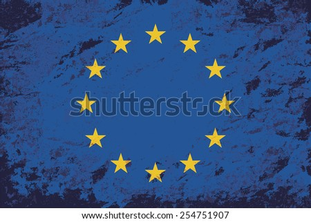 European Union flag. Grunge background. Vector illustration - stock vector