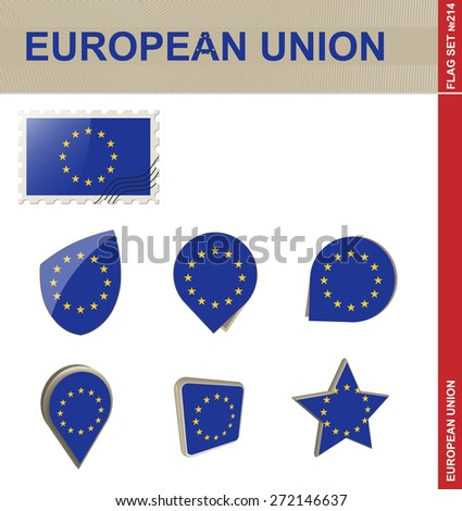 European Union Flag Set, Flag Set #214. Vector. - stock vector