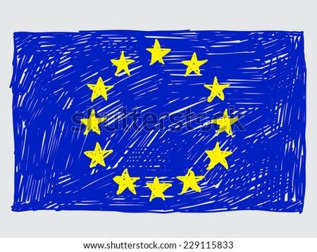 European union flag sketch - stock vector