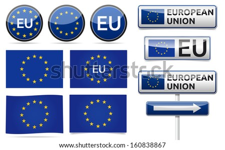 European union flag, traffic board, banner and symbols collection with shadow on white background. EU set. - stock vector