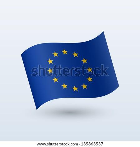European Union flag waving form on gray background. Vector illustration. - stock vector