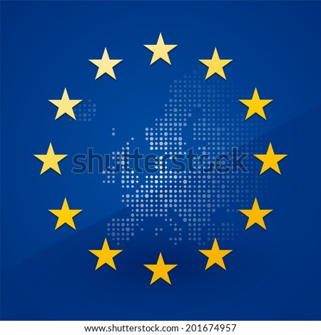 European Union flag with a map in the background - stock vector