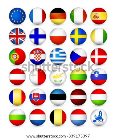 European Union Flags round badges, magnets. Vector illustration. - stock vector