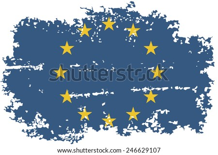 European Union grunge flag. Vector illustration. Grunge effect can be cleaned easily. - stock vector