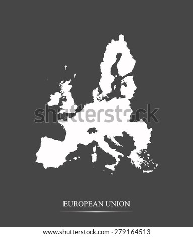 European Union map outlines in grey background, vector map of European Union in contrasted design for brochure template, tourist map, advertisement, web page design, science and education use - stock vector