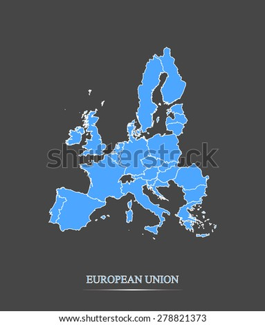 European Union map outlines in highlighted grey background, vector map of European Union in contrasted design for brochure design, tourist map, advertisement, web page design, science & education uses - stock vector
