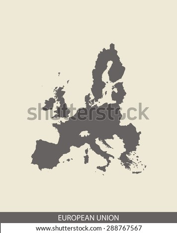 European Union map vector, European Union map outlines in a contrasted grey background for brochure and web-page templates and science & publication uses - stock vector