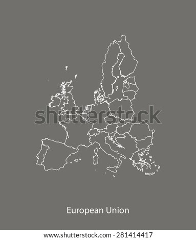 European Union map vector with countries in grey background, European Union map outlines in contrasted design for brochure template, tourist map, web page design, science and education uses - stock vector