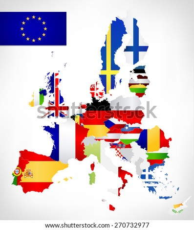 European Union map with flags.Vector map of the European Union with flags and location on a world map. All European Union countries member. - stock vector