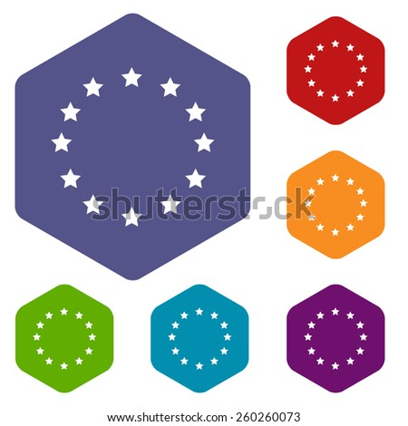 European Union rhombus icons set in different colors. Vector Illustration - stock vector
