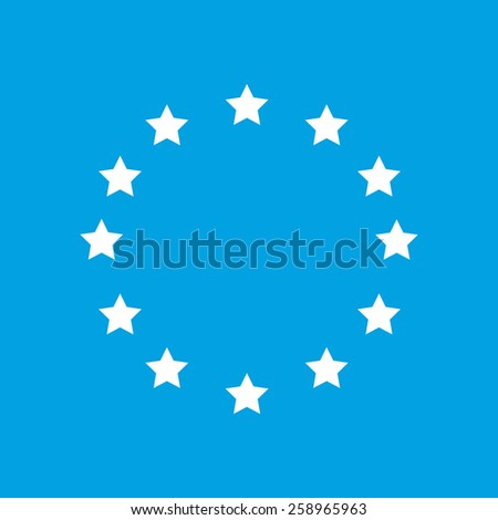 European Union web white icon isolated on a blue background. Vector symbol - stock vector