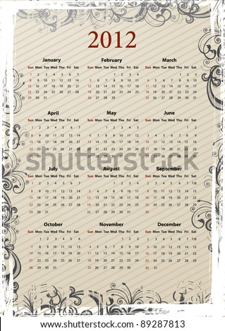 European Vector beige floral grungy calendar 2011, starting from Mondays - stock vector