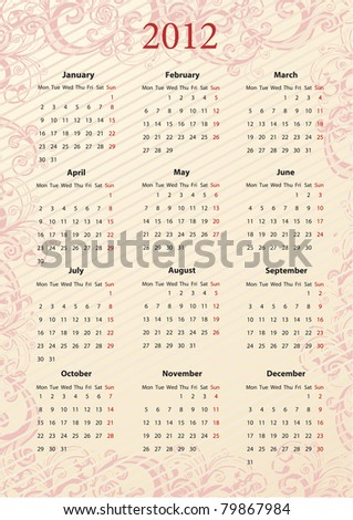 European Vector pink floral calendar 2012, starting from Mondays - stock vector