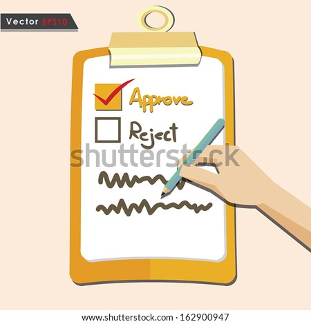 Evaluation approve quality check - stock vector