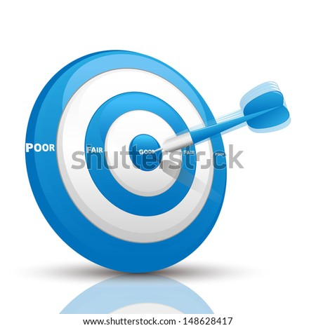 evaluation blue dart  - stock vector