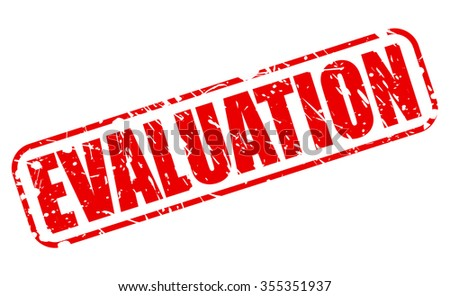 EVALUATION red stamp text on white - stock vector