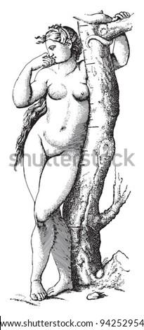 Eve by Raphael / vintage illustration from Meyers Konversations-Lexikon 1897 - stock vector