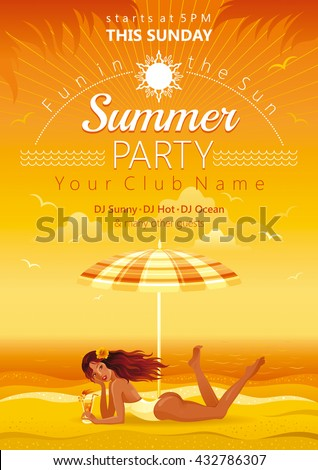 Evening beach background with beautiful girl and tropical cocktail - stock vector