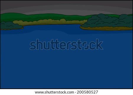 Evening jungle riverfront background with copy space - stock vector