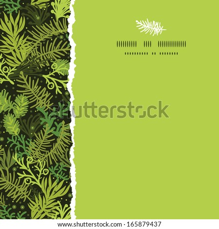 Evergreen christmas tree square torn frame seamless pattern background - stock vector