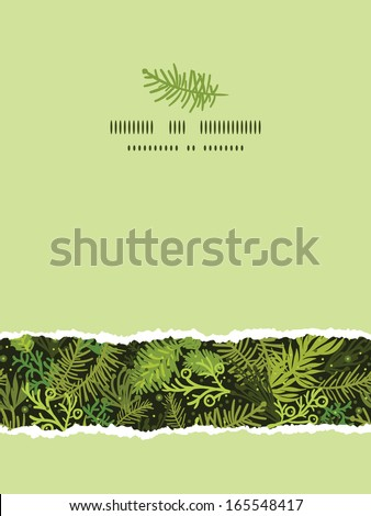 Evergreen christmas tree vertical torn frame seamless pattern background - stock vector